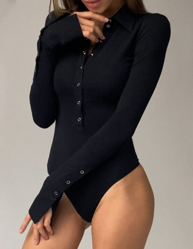 Solid Button Long Sleeve Turn Down Collar Bodysuit