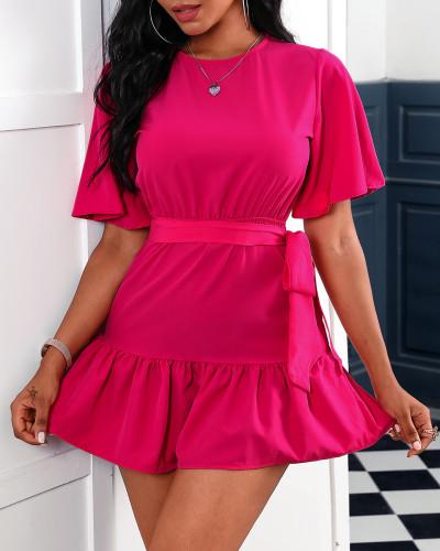 Pink Short Sleeve Ruffle Belted Skater Dress