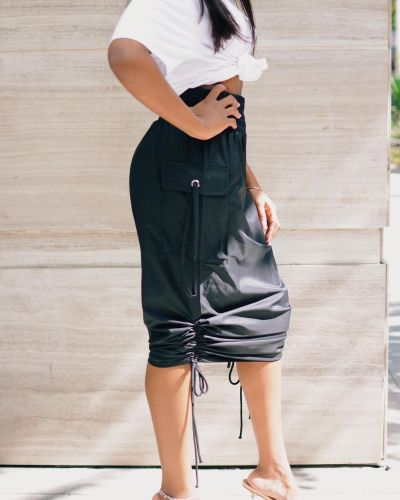 Black High Waist Drawstrings Leisure Midi Skirt