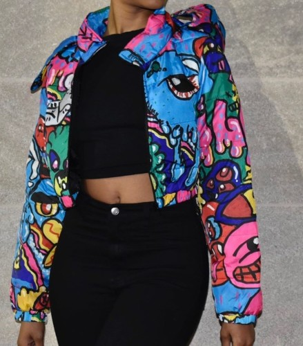Print Colorful Zip Up Short Jacket with Hood
