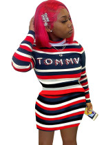 Multicolor Striped Top and Mini Skirt Two Piece Outfits