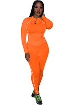 Sporty Fitted Top and Pants with Contrast Binding