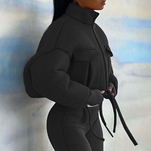 Winter High Neck Zipper Short Jacket