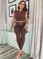 Brown Tight Sleeveless Crop Top & High Waist Pants Set