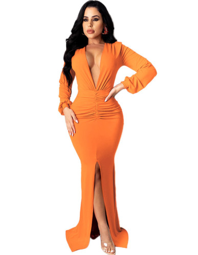 Solid Plunging Front Slit Sexy Evening Dress
