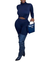 Long Sleeve Solid High Neck Basic Top and Pants Two Piece Set