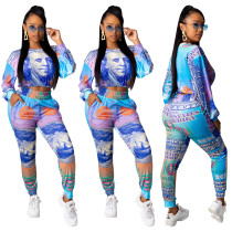 Dollars Bill Colorful Print Crop Top and Pants Set