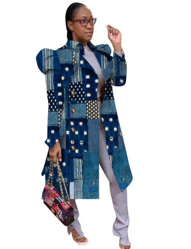 Print Blue Puff Sleeve Long Coat