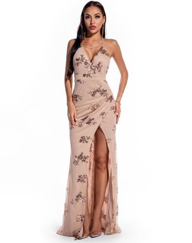 Sequin High Slit Maxi Cami Evening Dress