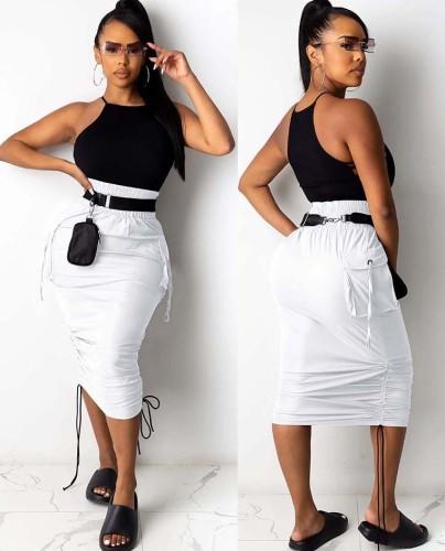 High Waist Pocketed Ruched White Midi Skirt