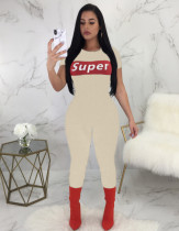 Letter Print Short Sleeve Slinky Jumpsuit