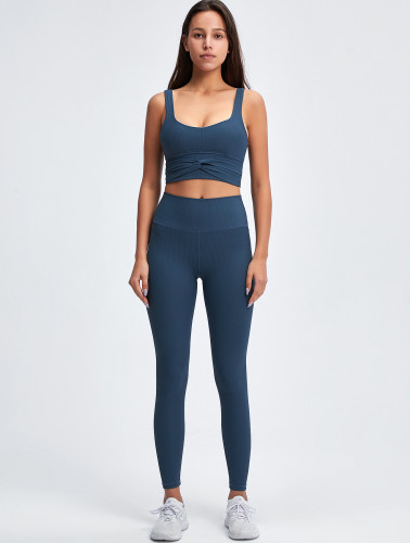 Sports Gym Solid Cropped Tank and High Waist Legging Set