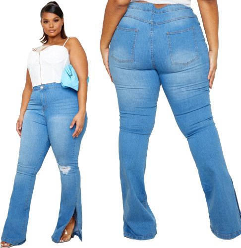 Plus Size Blue High Waist Slit Bottom Jeans