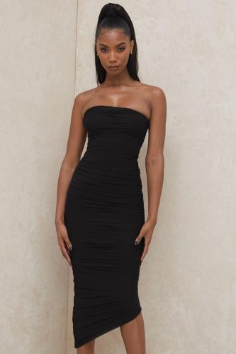 Black Bodycon Strapless Ruched Midi Dress XS-L