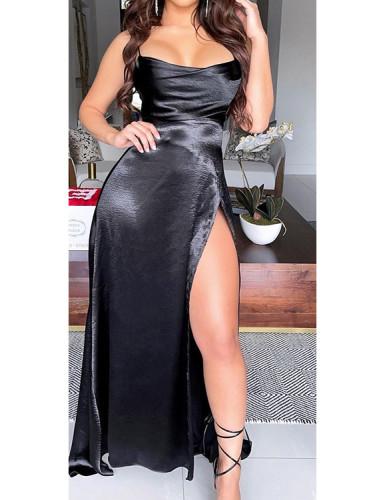 Silky High Slit Cami Evening Dress
