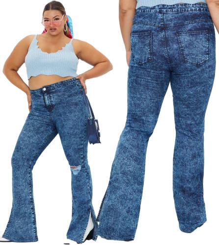 Plus Size Blue Tie Dye High Waist Slit Bottom Jeans