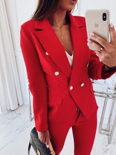 Plain Color Office Lady Buttoned Blazer