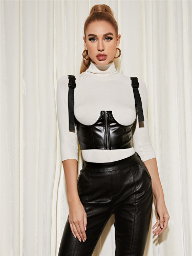 Sexy Underbust Black PU Leather Bustier Top