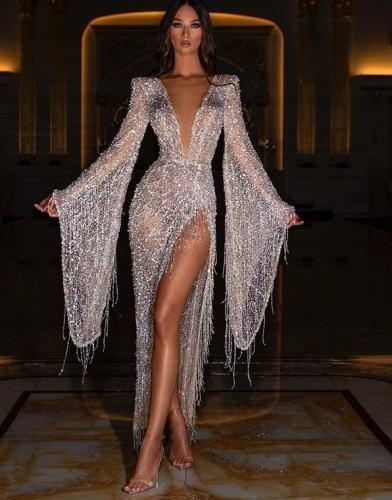 Glitter Deep-V Wide Sleeve Slit Evening Dress