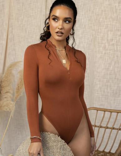 Solid Long Sleeve Zipper High Cut Bodysuit