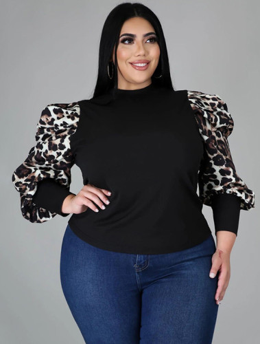 Plus Size Fitted Top with Contrast Puff Sleeves