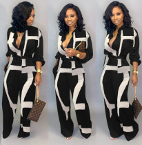 Black & White Long Sleeve Belted Jumpsuit
