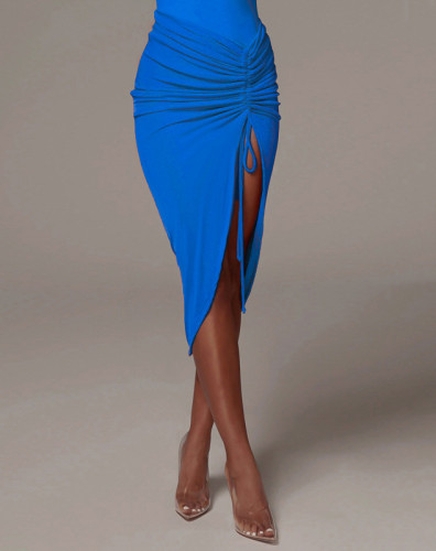 Sexy Irregular Drawstring Ruched Midi Skirt