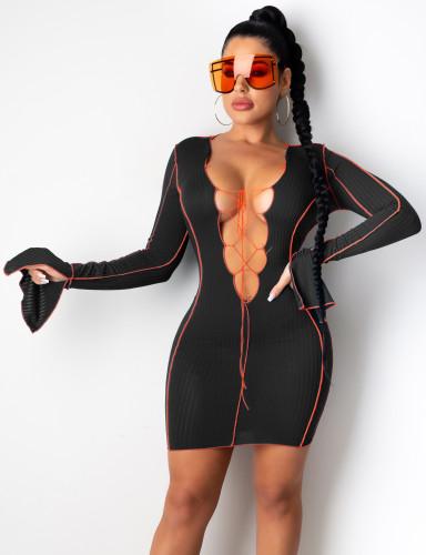 Sexy Plunging Lace Up Flare Cuff Mini Club Dress