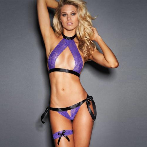 Sexy Lace Crotchless Bra Set