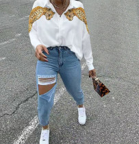 White Leopard Print Collar Button Up Blouse