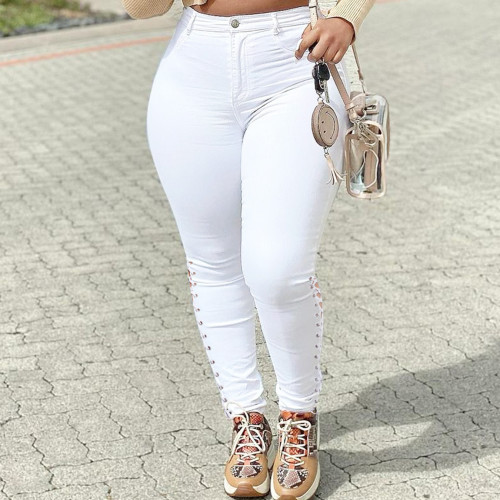 Plus Size White Lace Up Sides Tight Jeans