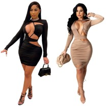 Solid Cutout Sexy Bodycon Dress