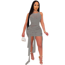 Gray Strechy Mesh Strapless Sexy Tied Mini Dress