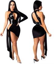 Black PU Leather Patchowrk Sexy Cutout Club Dress