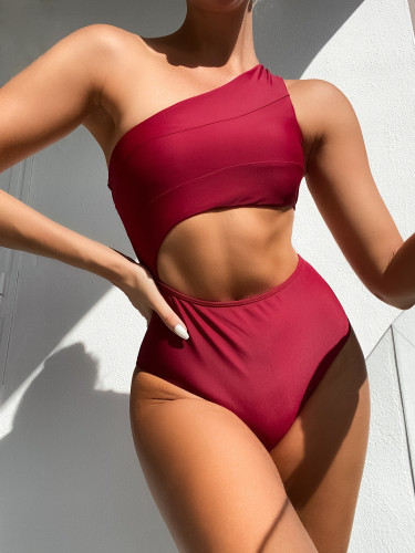 Red Cutout One Shoulder One Piece Swimsuit
