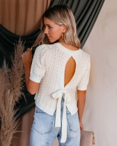 White Cut Out Tied Back Short Sleeve Cropped Knit Top