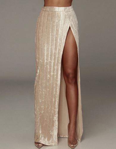 High Waisted High Slit Velvet Pleated Elegant Long Skirt