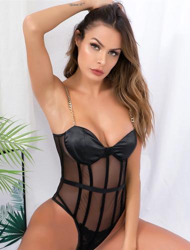 Sexy Black Mesh Insert Cami Teddies Lingerie