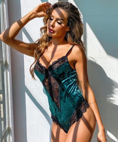 Sexy Lace Trim Contrast Velvet Teddies Lingerie