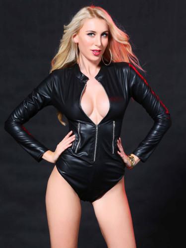 Black PU Leather Long Sleeve Zip Up Teddies Lingerie