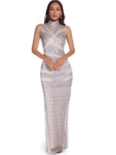 Sequin Sleeveless High Neck Long Evening Dress