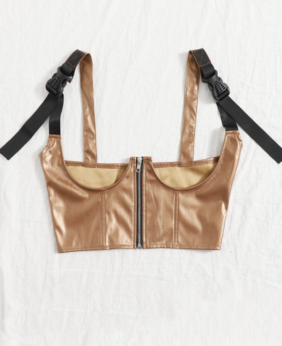 Sexy Underbust Khaki PU Leather Bustier Top