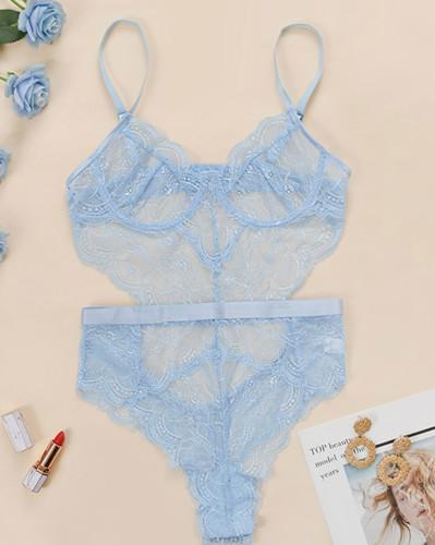 Blue Sexy Lace Cami Teddies Lingerie