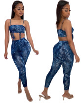Tie Dye Blue Sexy Cami Crop Top and Pants Two Piece Outfits