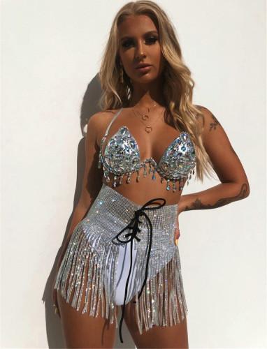 Sexy Tassel Rhinestone Lace Up Shiny High Waist Skirt