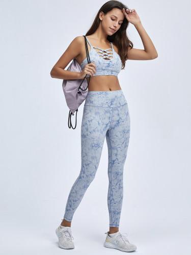 Tie Dye Fitness Bra and High Waist Leggings Yoga Set