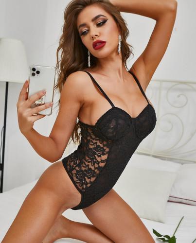 Sexy Black Lace Panel High Leg Straps Teddies Lingerie
