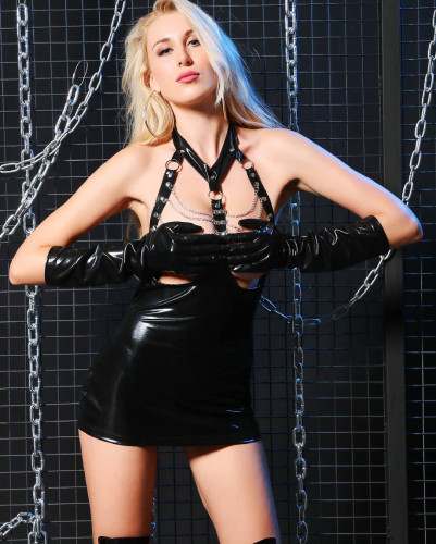 Black Cupless PU Leather Erotic Chain Mini Dress with Gloves