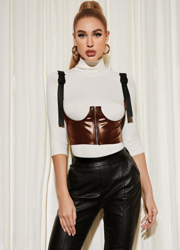 Sexy Underbust Brown PU Leather Bustier Top