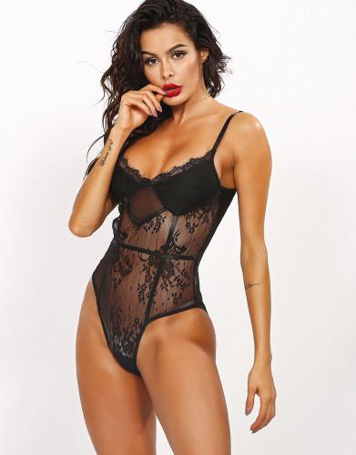 Sexy Black Lace High Leg Straps Teddies Lingerie